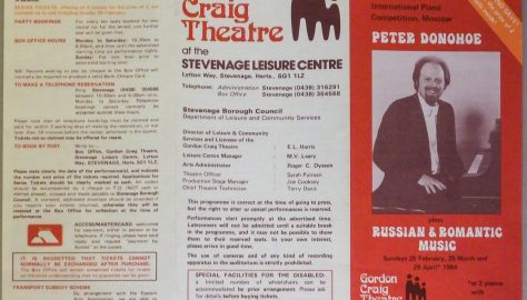 Programme for Peter Donohoe Russian Romantic Music, February to April 1984