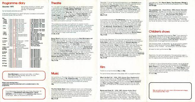 Gordon Craig Theatre Brochure December 1975