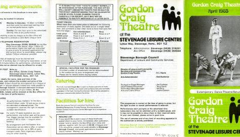Brochure for April 1985