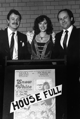 Bob Bustance, Nicola Bryant, Kevin Wood at Snow White 1985/86