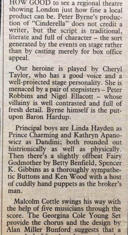 Press for Cinderella at GCT 1983/84