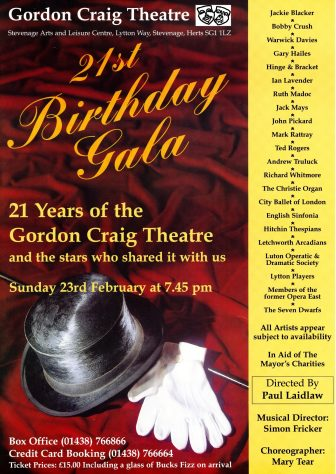 Poster for 21st Birthday Gala, February 1997