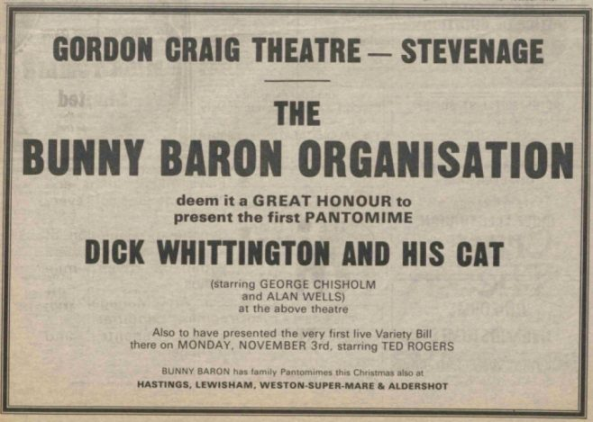 Advert for Bunny Baron's Panto at The Gordon Craig Theatre 1975 | The Stage